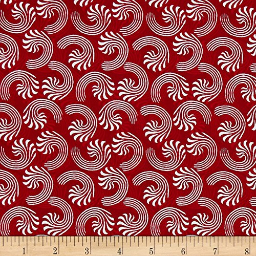 Fabri-Quilt Seasons Greetings Candy Cane Swirls Red Fabric By The Yard, Red - Candy Canes Quilt Fabric