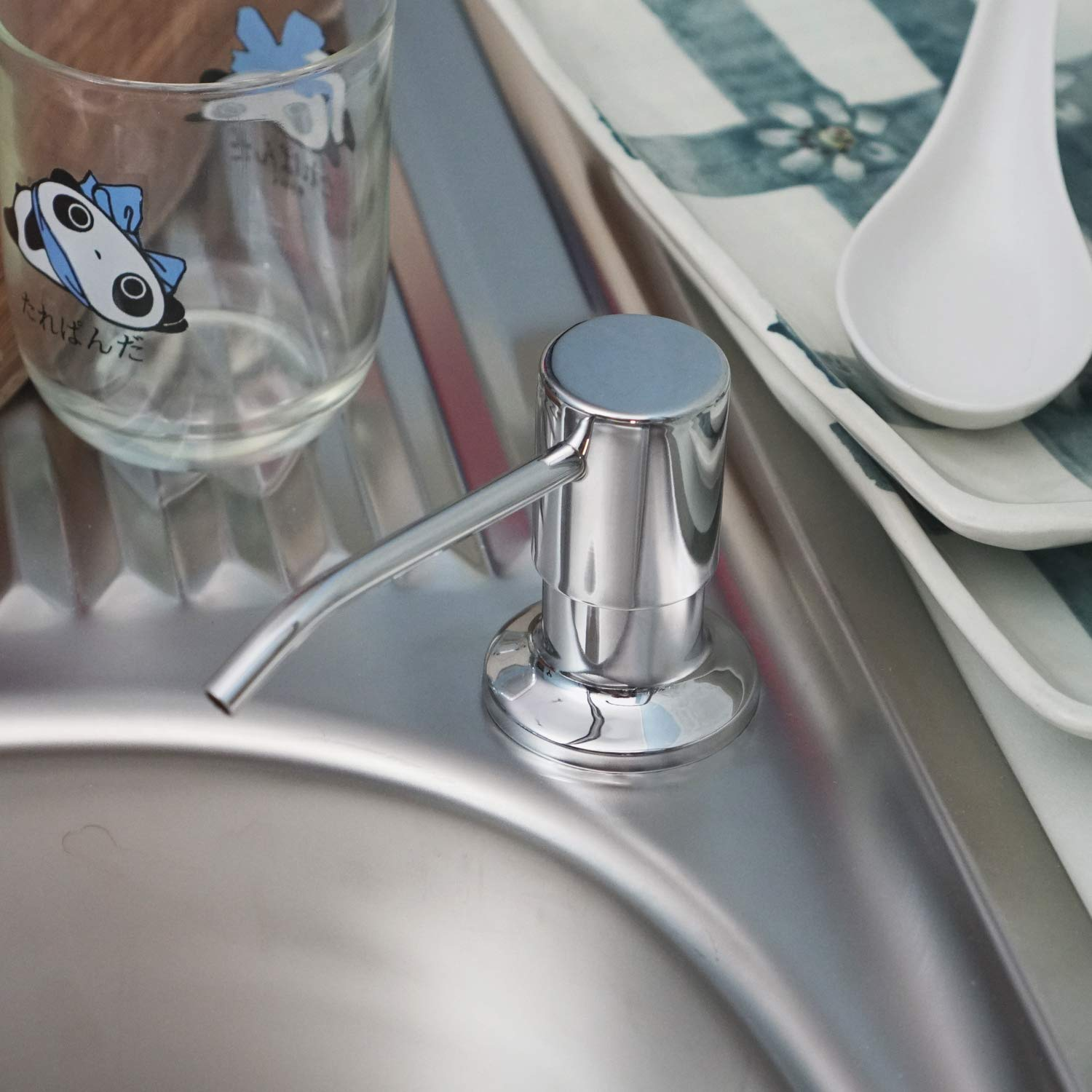 Soap Dispenser for Kitchen Sink (Chrome) Refill From the Top