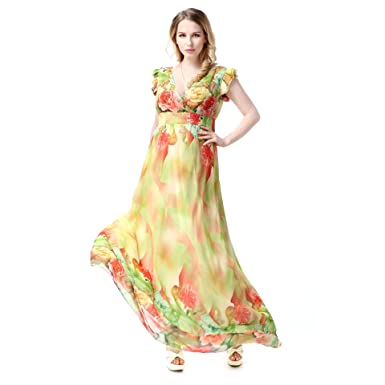 ffd9c4c9f29 Image Unavailable. Image not available for. Color  Hoter Plus Sizes Chiffon  Ladyfied V-neck Floral Short Sleeve Vacation Maxi Dress