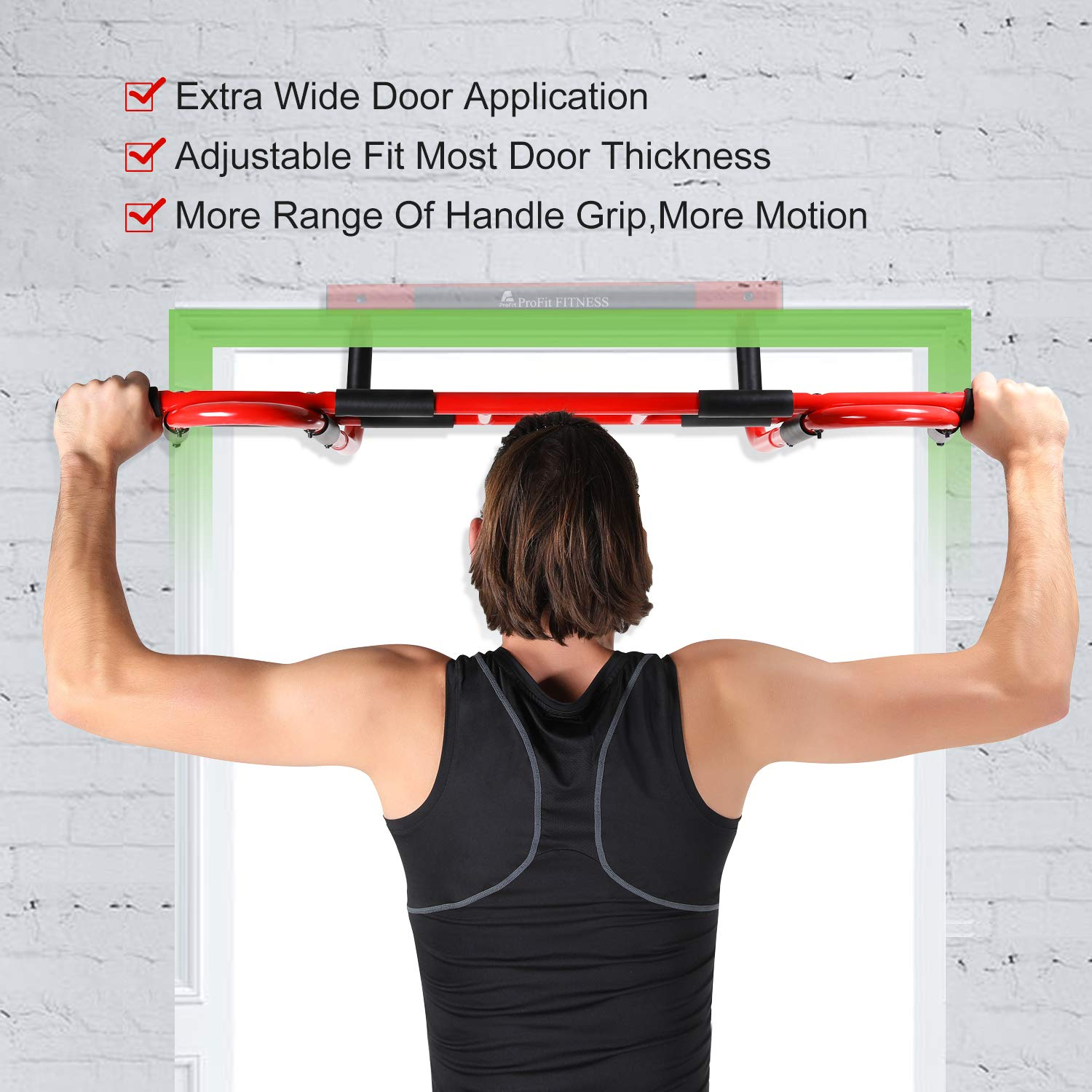 Profit Fitness Doorway Pull Up Chin Up Bar Door Gym Upper Body Workout Trainer Bar Maximum Stability-Weight Load of 600lbs-16 Grip Position-Easy and Quick 4 Screws to Setup Anywhere Home Workout