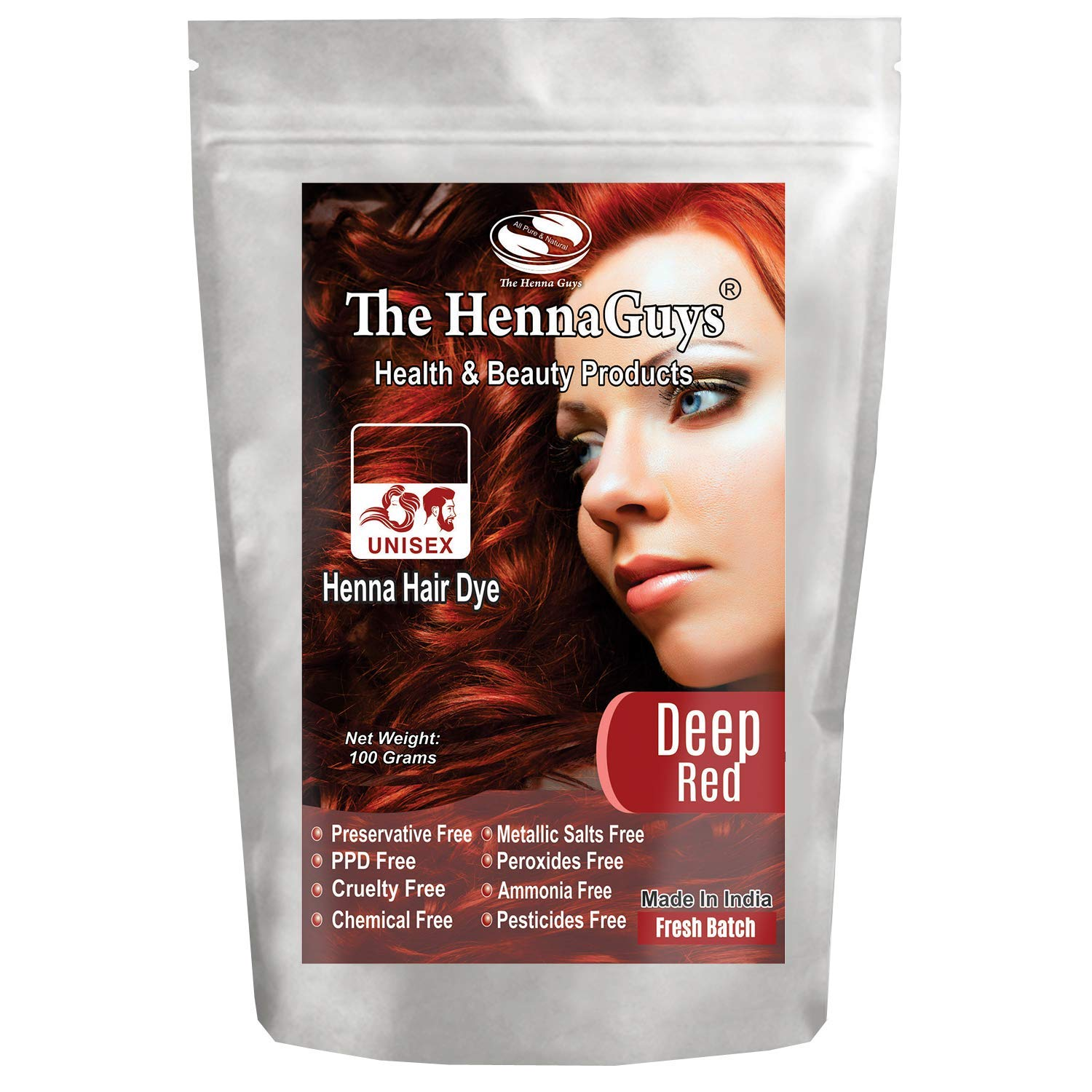 DEEP RED Henna Hair Color - 1 Pack - Best Red Henna for Hair, Natural Hair Color - Chemical Free Henna Hair Dye - The Henna Guys