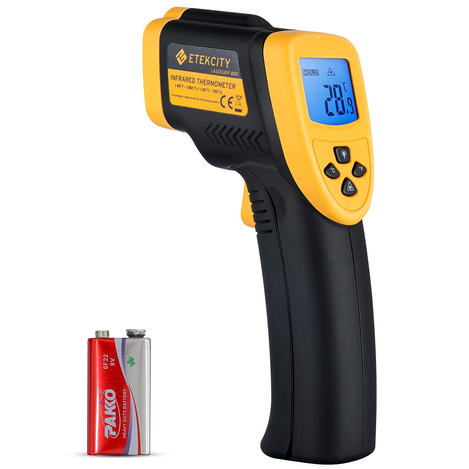 Etekcity Lasergrip 800 Digital Infrared Thermometer Laser Thermometer Temperature Gun Non-contact -58℉ - 1382℉ (-50℃ to 750℃), Instant Read Thermometer for Meat Refrigerator Pool Oven