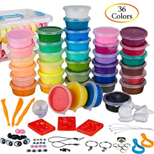 PolyClay Air Dry Clay 36 Colors DIY Modeling Clay Kit, Ultra-light with Accessories, Tools and Tutorials, Eco-Friendly Creative Art DIY Crafts, Non-toxic. FDA APPROVED. Best Gifts for Kids