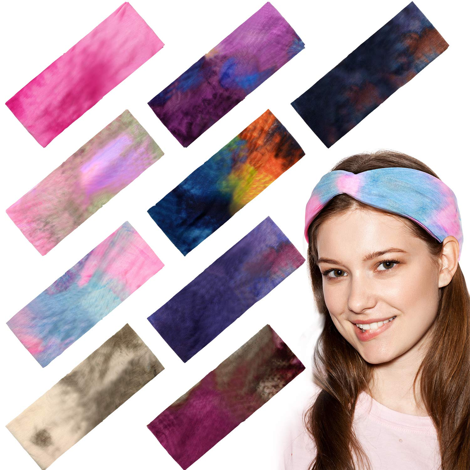 Tie Dye Headbands Vintage Turban Head Wraps