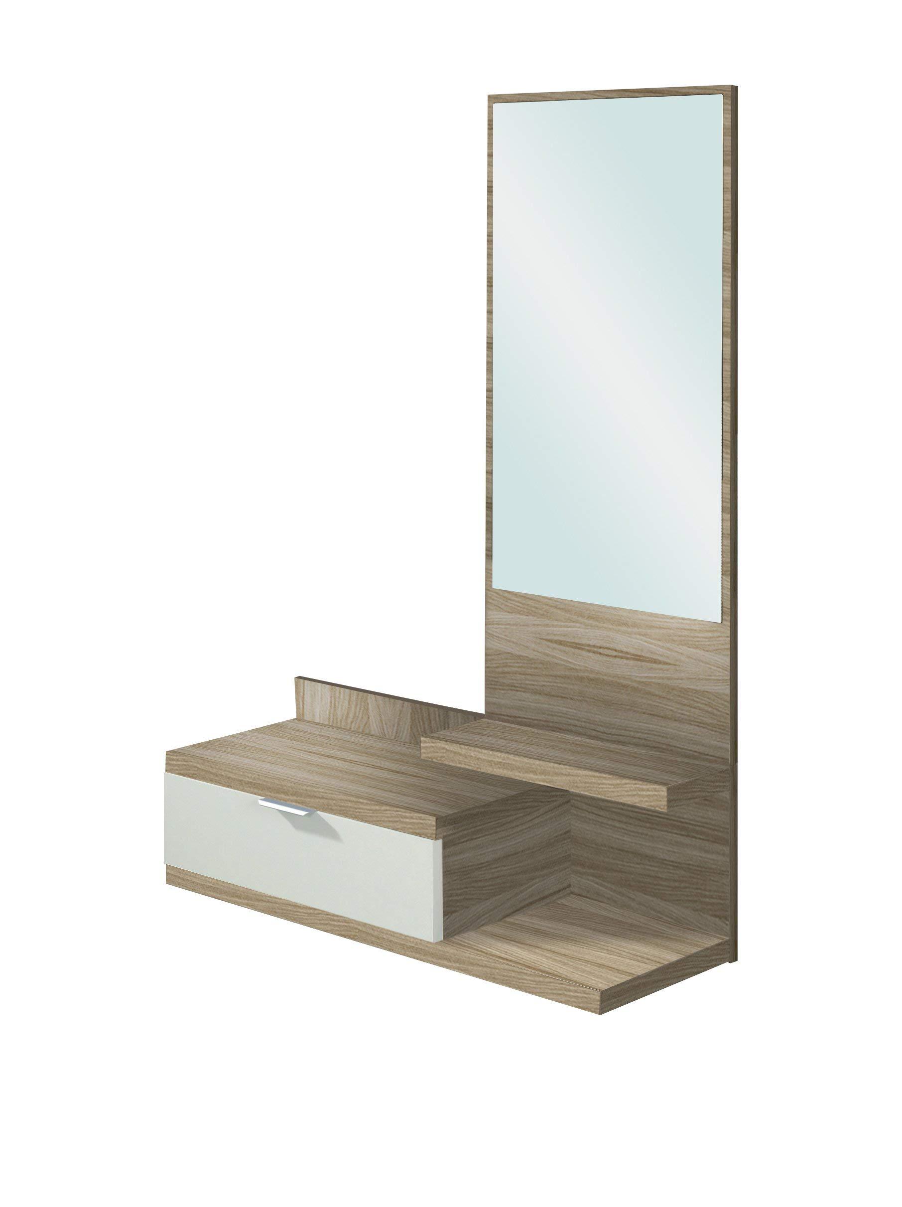 Habitdesign 016744W - Recibidor con un cajón y espejo, mueble entrada color Blanco Brillo y