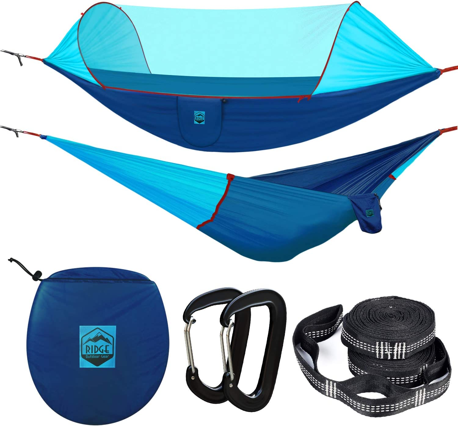 Ridge Outdoor Gear Camping Hammock with Mosquito Net – Ripstop Nylon – Ultralight Hammock Tent Bundle with Bug Netting, Straps, Carabiners