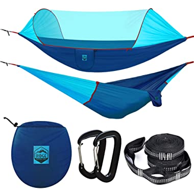 Ridge Outdoor Gear Camping Hammock with Mosquito Net - 2019 Upgraded Ultralight Hammock Tent Bundle with Bug Netting, Straps, and Carabiners – Ripstop Nylon, Double