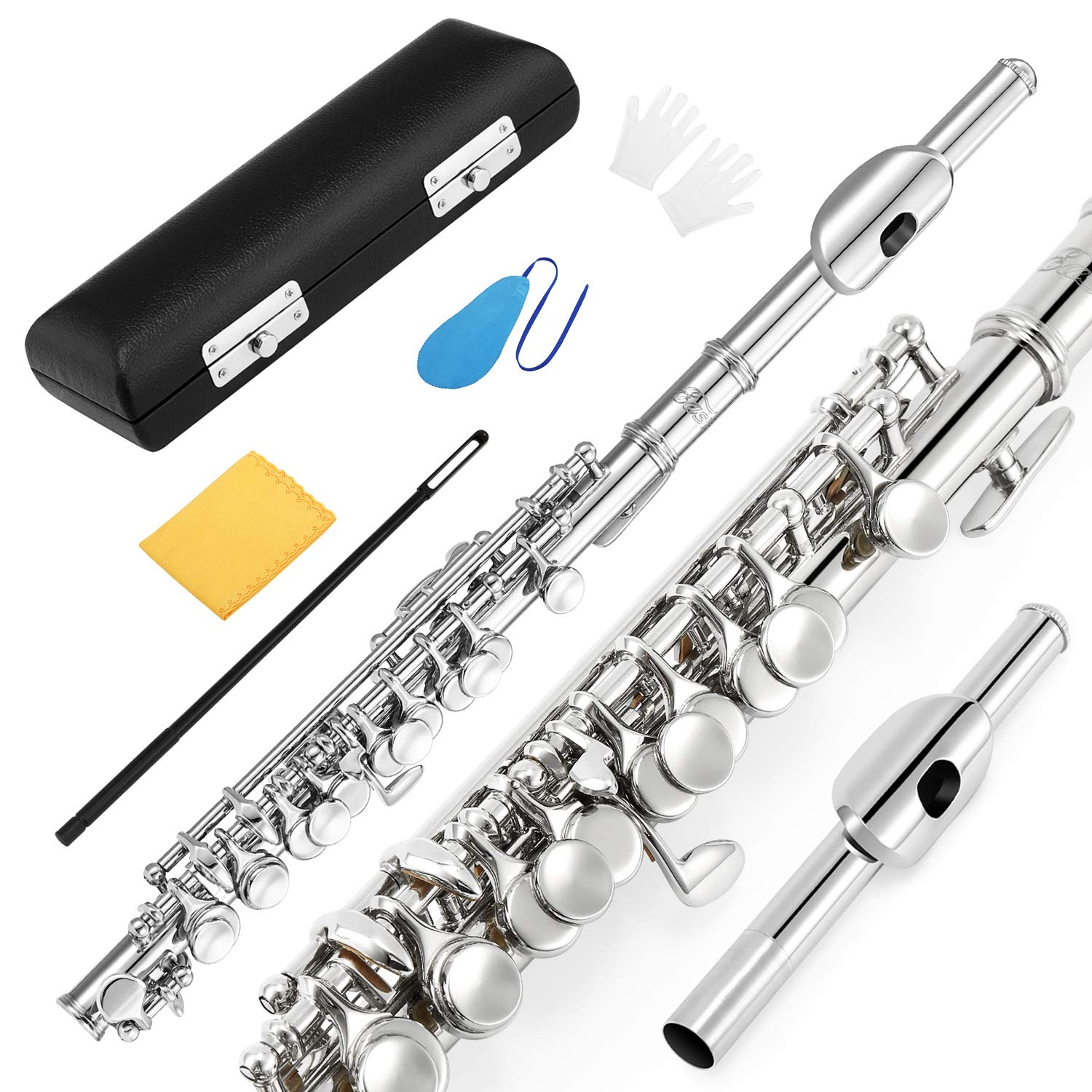 Eastar EPC-1 Nickel Plated Piccolo Key of C 2-Piece With Hard Case Fingering Chart, Cleaning Rod, Cloth, Swab and Gloves by Eastar (Image #1)