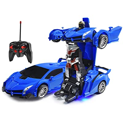 Kossmask Robot Deformation Car Rechargeable One Button Transformation RC Car, 360°Rotating Remote Control Vehicles with Realistic Engine Sound Gift for Kids (Blue): Toys & Games