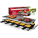 Artestia Raclette Table Grill,1500W Electric Indoor Grill,10 Paddles Korean Bbq Grill,Cheese Raclette with Grill Stone and No