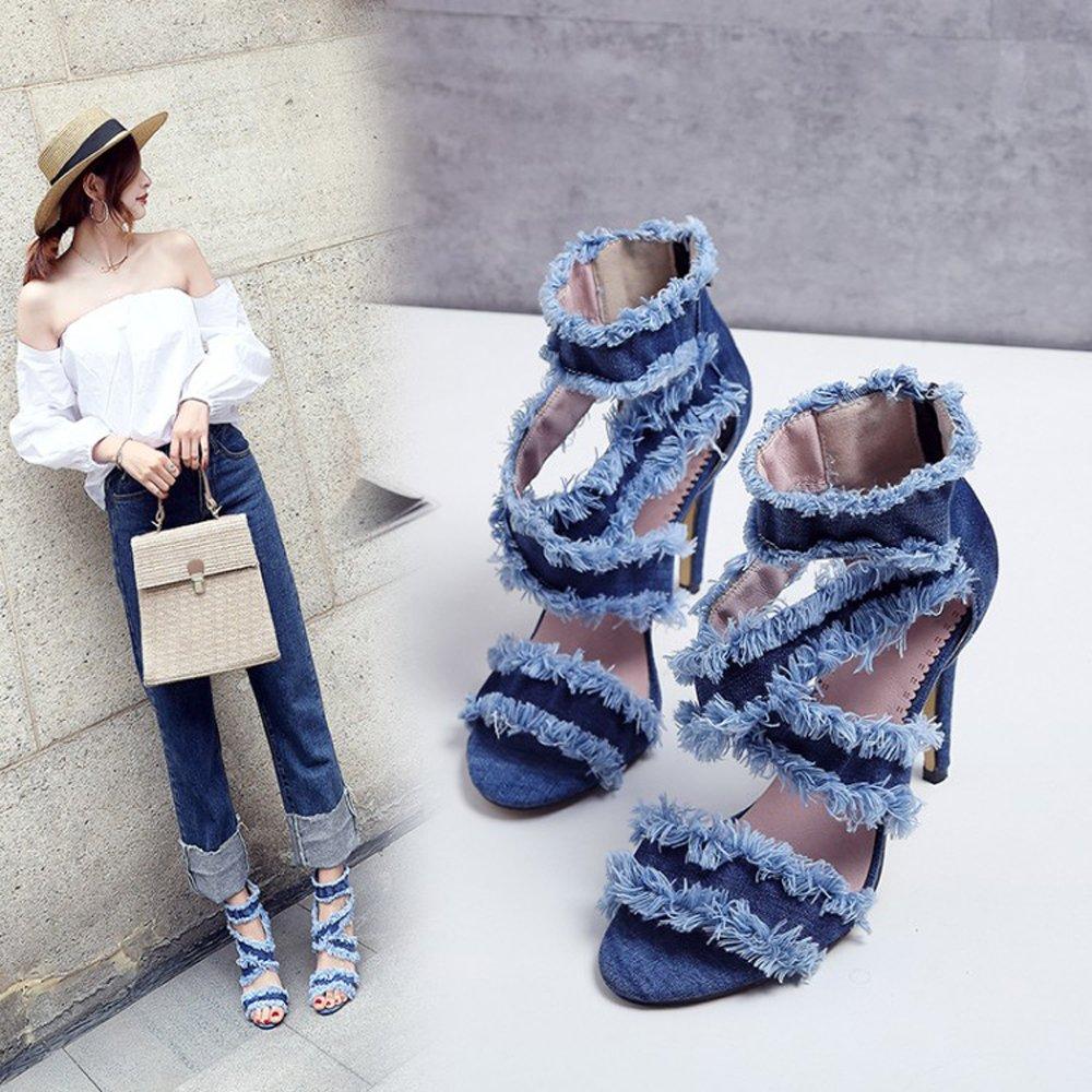 YiZJNY Women Stiletto Denim Sandals Cross Strappy High Heels 10CM Open Toe Ankle Strap Party Dress Shoes