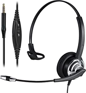 Yexatel 3.5mm Headset for Cell Phone Tablet PC Desktop Speech Recognition Dictation Business Office Skype Zoom Teams Conference Meeting UC Platform Softphone Call Chat Call Center Driver Single Ear