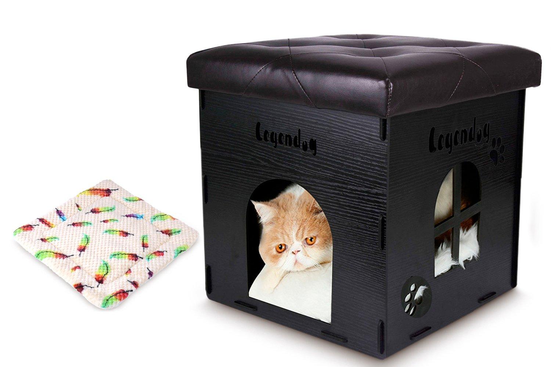 3c51f725ae Legendog Animale Animale Animale Domestico Casa di Legno Piccolo Cani &  Gatti Animale Domestico Letto Sgabello con Cuscino c657a8