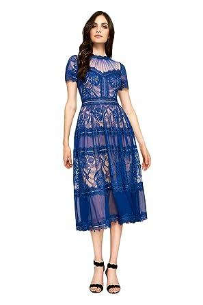 e784cd41d9d Image Unavailable. Image not available for. Color  Tadashi Shoji Tea-Length  Sheer Lace Dress ...