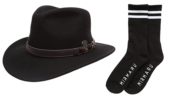 Men s Premium Wool Outback Fedora with Leather Band Hat with MIRMARU Socks .(H58 add34af8aa30