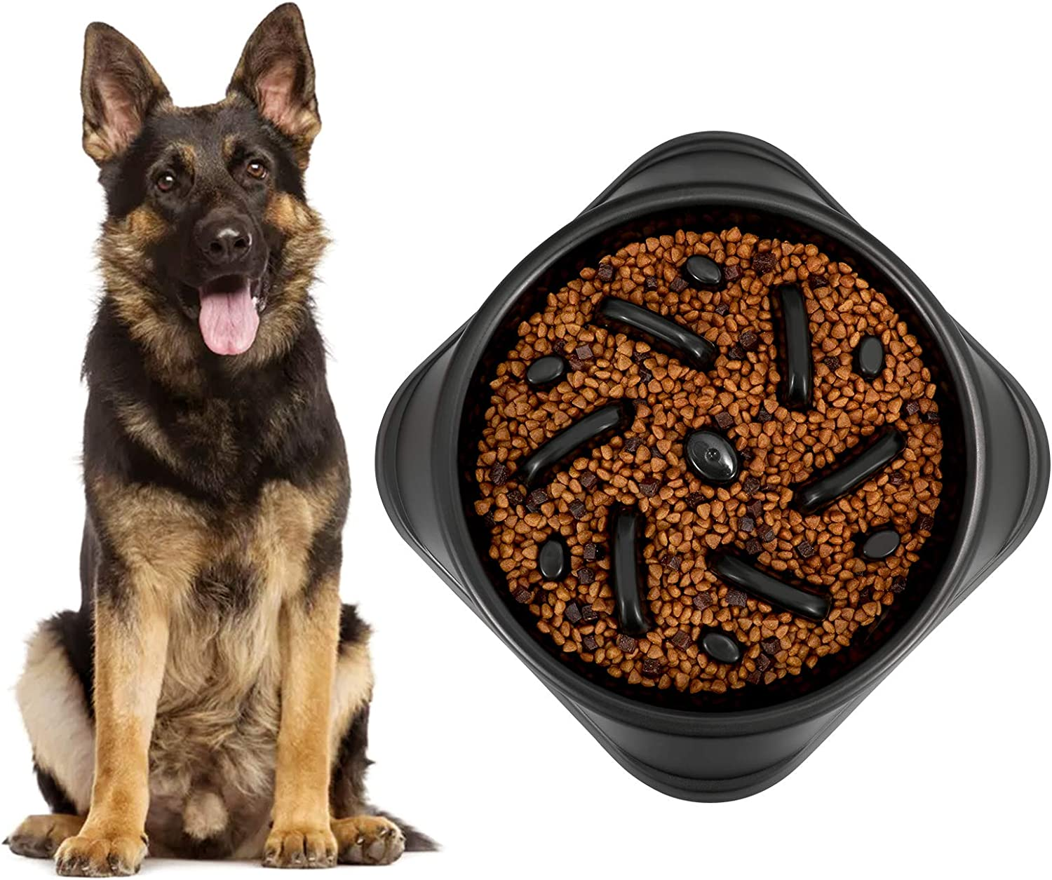 KASBAH Slow Feeder Dog Bowl for Large Dogs, Non Slip Puzzle Bowl Pet Bowl Non-Toxic Bloat Stop Large Dog Bowl Dog Food Bowl Eco Friendly
