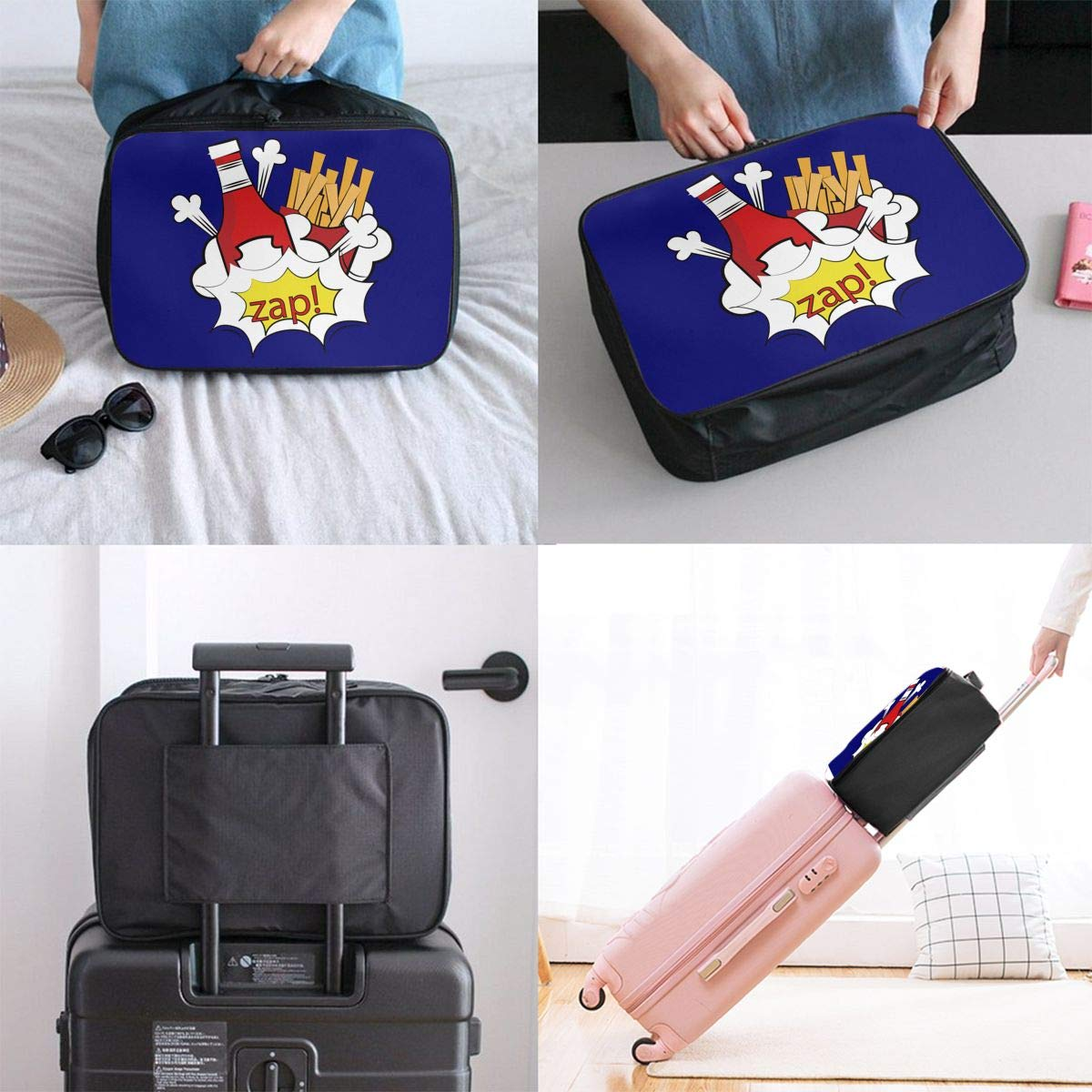 Travel Luggage Duffle Bag Lightweight Portable Handbag French Fries Large Capacity Waterproof Foldable Storage Tote