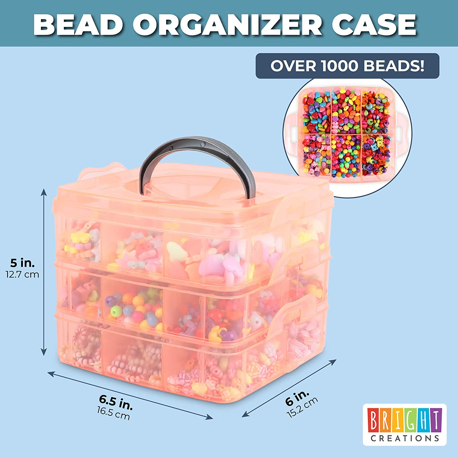 Clear Pink Bead Organizer 9.8 x 6.5 x 7.25 in Storage Box with Compartments