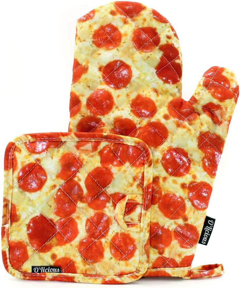 FYDELITY Kitchen Oven Mitt PotHolder Heat Resistant Non-Slip Gloves: Pizza