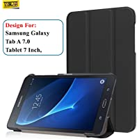 Taslar Leather Convenient Stand Function With Magnetic Lock Flip Cover Case For Samsung Galaxy Tab A 7.0 Tablet (T280, T285),(Black)