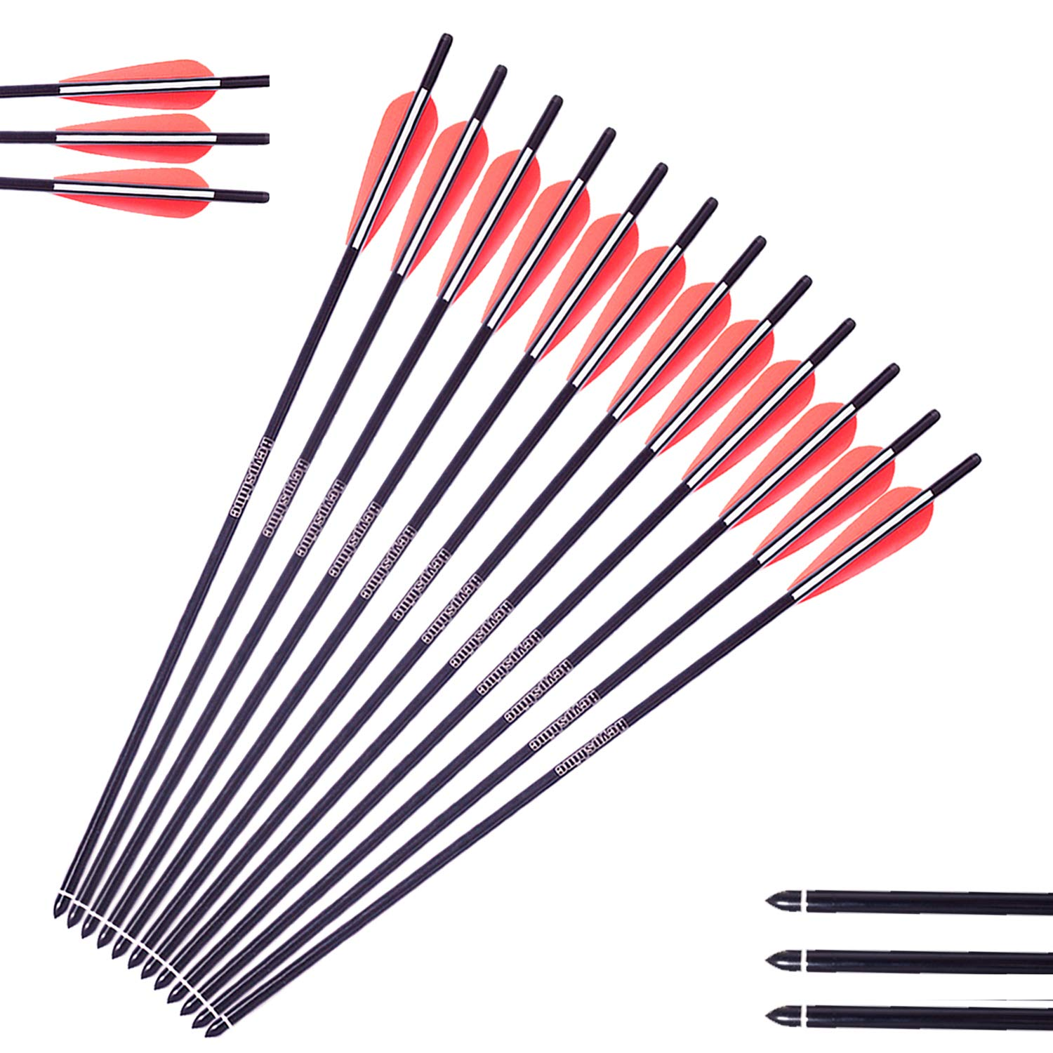 Heypshine Aluminum Arrows 20'' Inch, 310 Spine, Practice Archery Arrows, Target Arrows, Carbon Arrow, Archery Arrows, Youth Arrows, Arrow Shafts, Recurve Arrows (Pack of 12) by Heypshine