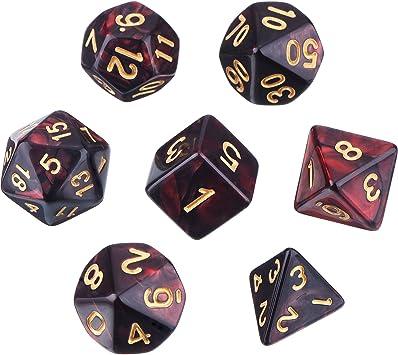 eBoot Dados Poliédricos Set de 7-Dados para Dungeons y Dragons con Bolsa Negra (Negro Rojo): Amazon.es: Juguetes y juegos