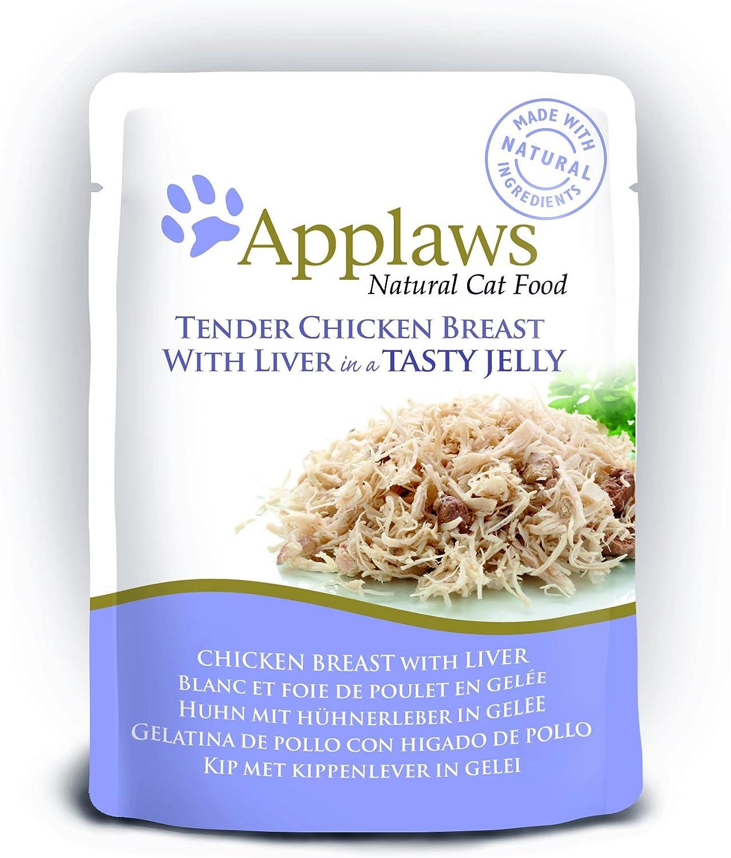 Applaws Bolsa de comida para gatos 70 g de pollo con hígado en gelatina, 16 x 70 g