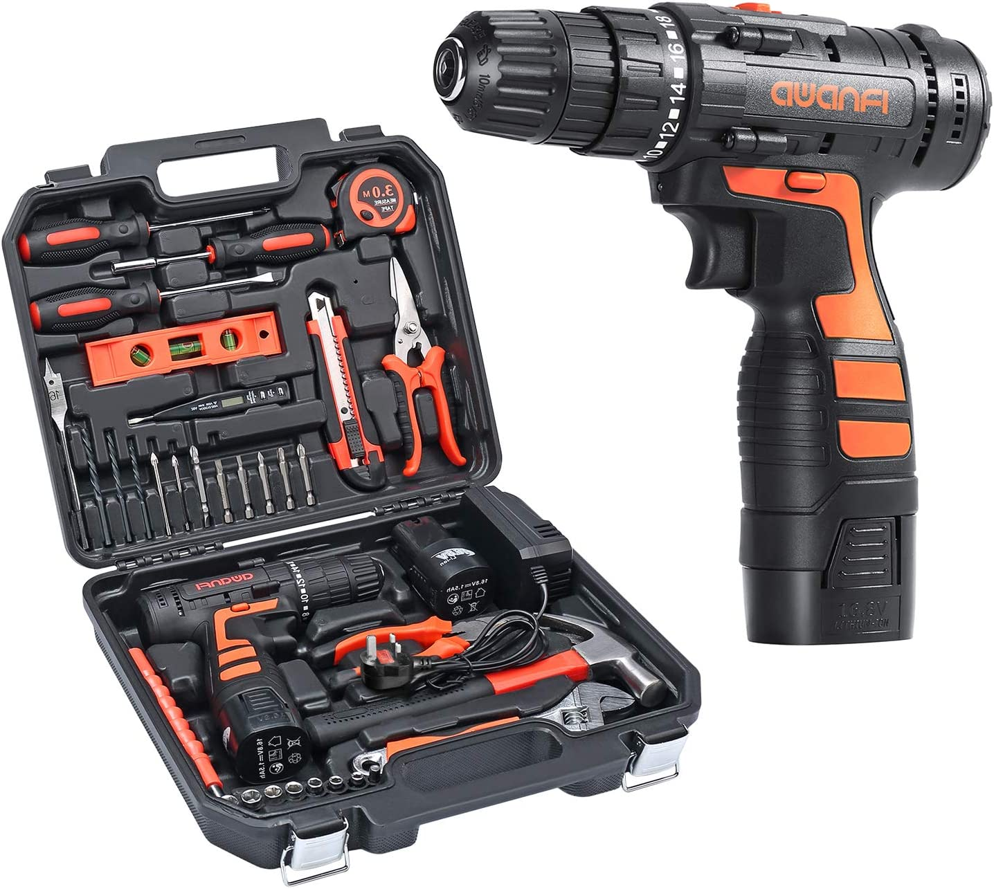 AWANFI Werkzeugkoffer mit Akkuschrauber 35PCs Handwerkzeuge Kit mit Bohrschrauber Werkzeugset 16.8 V 1500 mAh 2 Li-ion Akkus