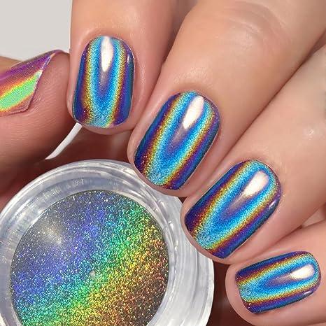 USHION Efecto Holografico Polvo de Espejo para Uñas,Pigmento Cromo en Polvo,Rainbow Unicorn. Pasa ...