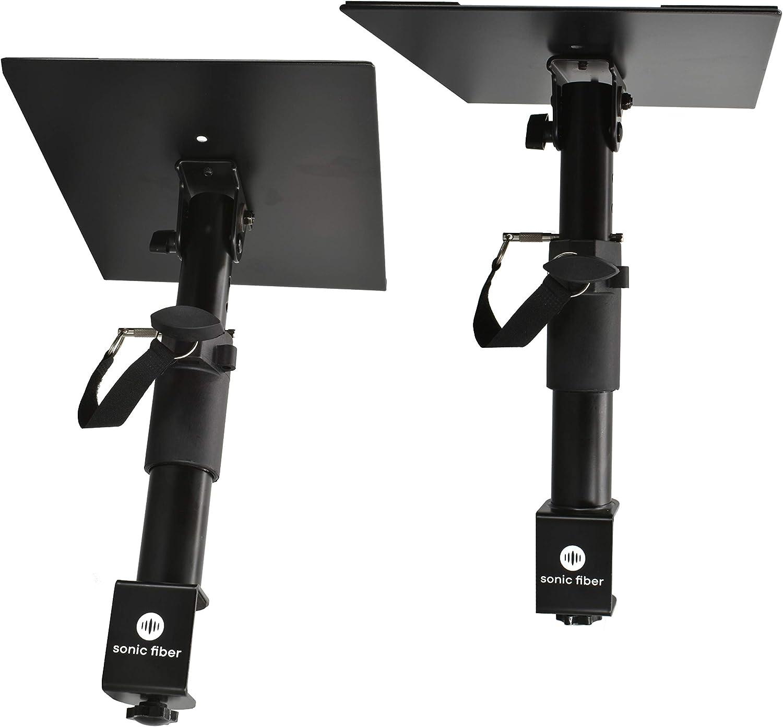SonicFiber Studio Monitor Stands with Desk Clamp, Adjustable Height, Tilt, 1 Pair