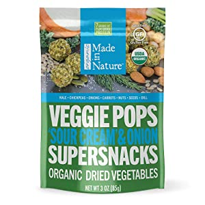 Made In Nature Organic 'Sour Cream' & Onion Veggie Pops, 3oz (6-Pack) - Non-GMO Vegan Veggie Super Snack
