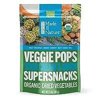 Made in Nature Organic Veggie Pops, Sour Cream & Onion, Vegan Baked Veggie Snacks, 3 Ounce Bags, 6 Count