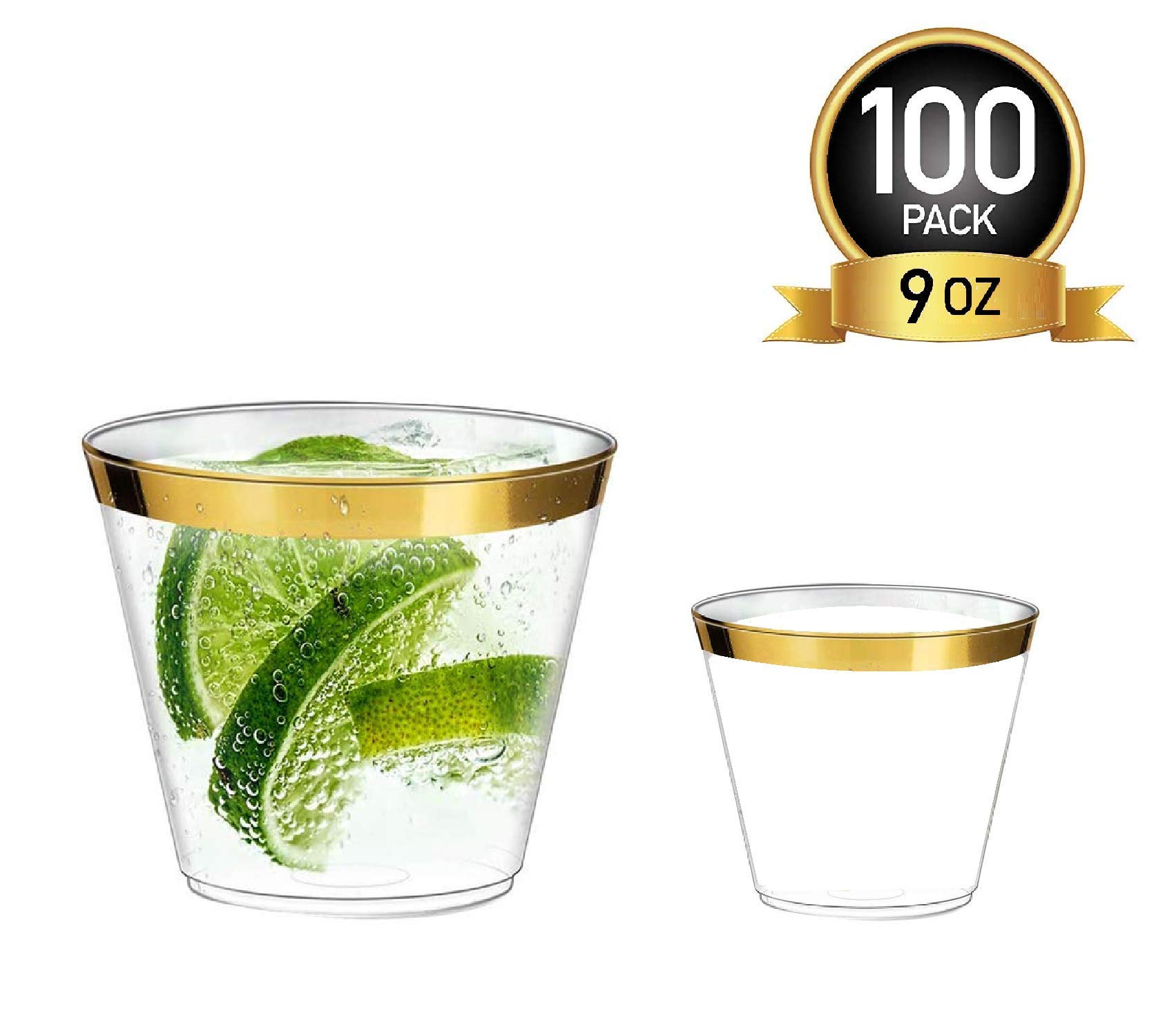 100 Gold Lined Plastic Clear Cups 9oz   Bonus 5oz Cups  Disposable Tumbler Cups for Wine or Champagne  Fancy Elegant Party Cups for Decoration & Weddings (Gold Rim) by Infinity on Clouds