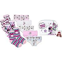 Disney Minnie Mouse y Unicornio Set de Braguitas y Calcetines para Niñas, Pack de 5 Bragas, 3 Calcetines y Mini Bolso…
