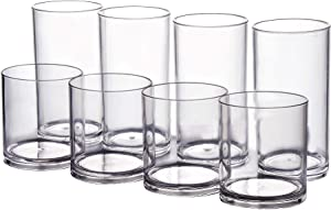 Classic Tumbler Plastic Glasses Dishwasher-safe BPA-free Set of 8 | 4-each: 20-ounces and 14-ounces Clear Drinking Cups