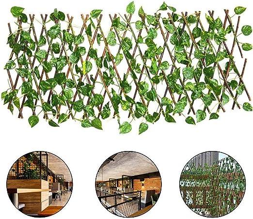 ALLPER Celosía seto con Hojas, Barrera Plegable de Mimbre para el jardín, Medidas de 194 cm x 40 a 72 cm x 64cm, Material de Primera Calidad. Valla.: Amazon.es: Jardín