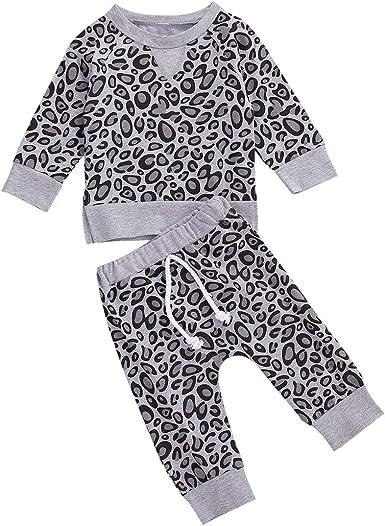 Toddler Baby Boys Girls Leopard Pajamas Set Cotton Shirt Top Pants Nightwear 2PCS Sleepwear Clothes Set