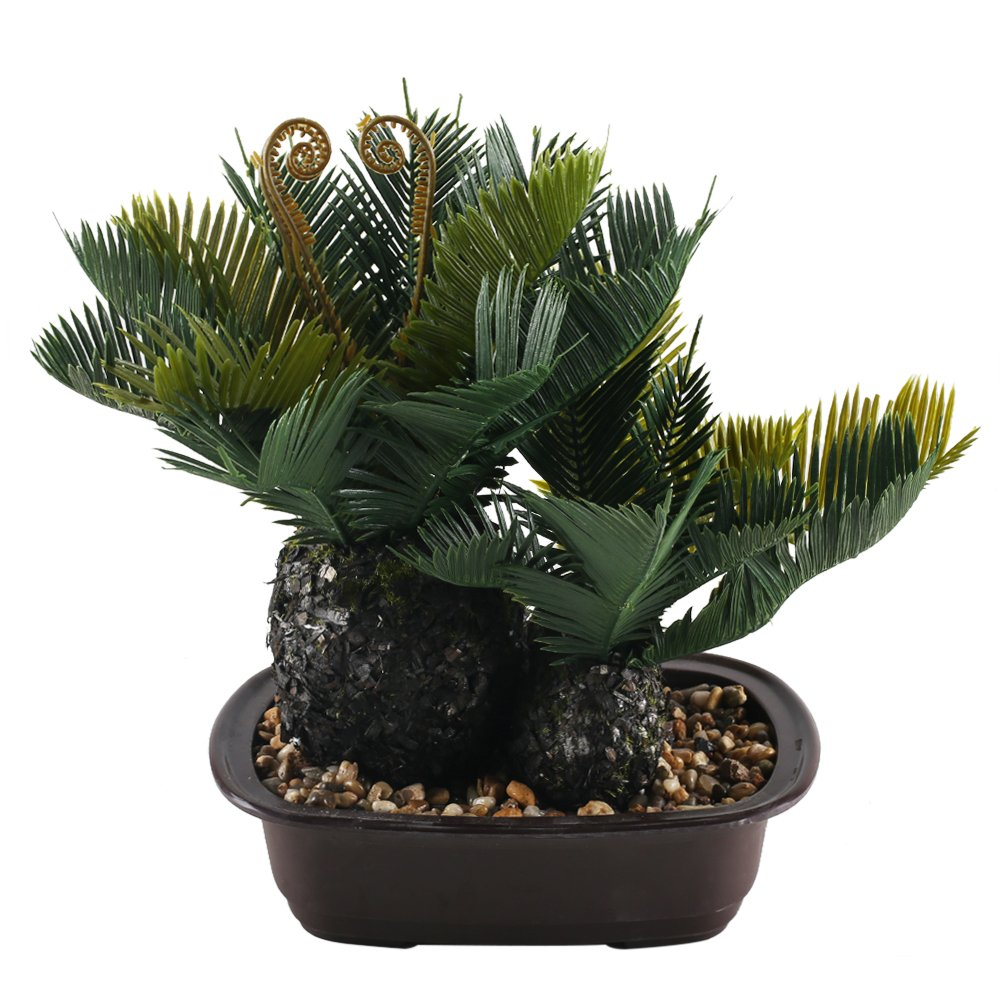 GTIDEA Cycas Palm Tree Fake Potted Plants Artificial Greenery Bonsai Faux Plastic House Plants for Bathroom Home Kitchen Office Bookshelf Garden Feng Shui Decor in Plastic Pot