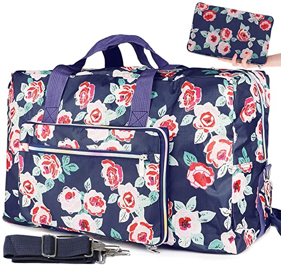2d4ad9d37a0b Foldable Travel Duffle Bag for Women Girls Large Cute Floral Weekender  Overnight Carry On Bag for Kids Checked Luggage Bag