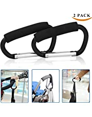 """2pcs X-Large Buggy Clips Carabiner Stroller Hooks Durable Mommy Clip Stroller Hanger Organizer for Purse Shopping,Grocery and Diaper Bag - 14cm (5.5""""),Black"""