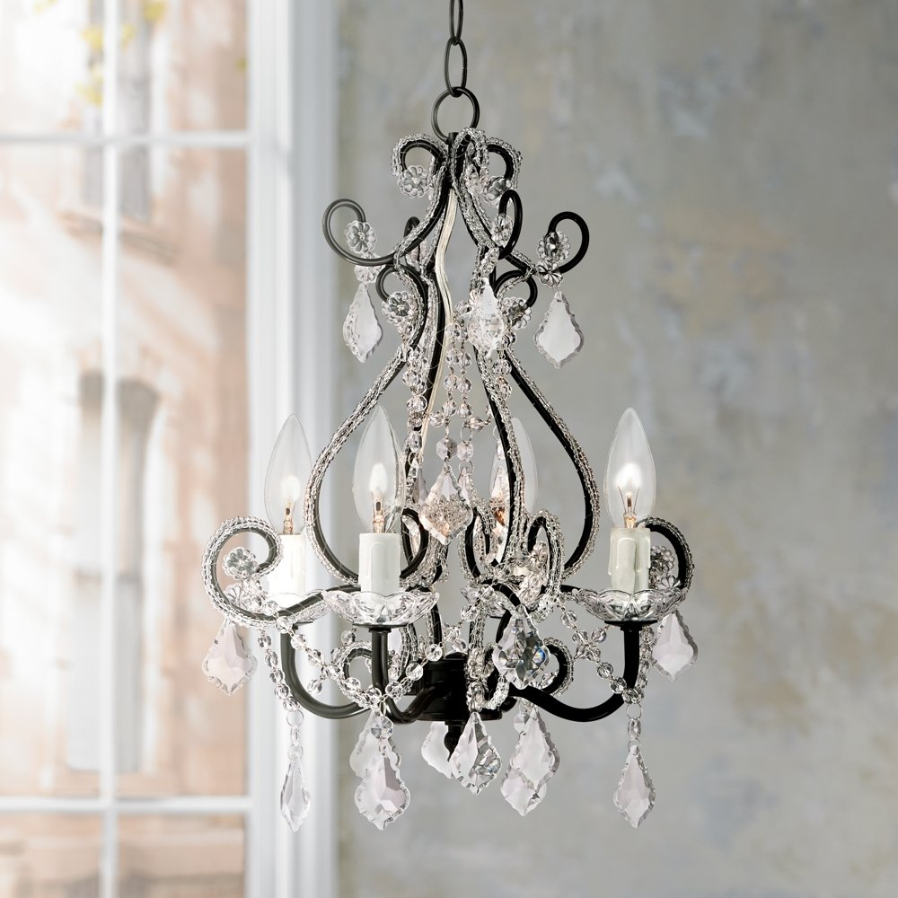 Leila black clear swag plug in chandelier amazon arubaitofo Image collections