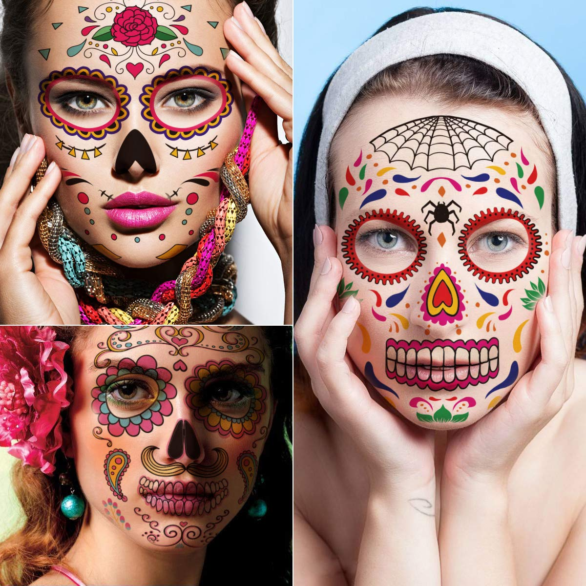 Kotbs 9 Sheets Day of the Dead Skeleton Face Tattoo, Glitter Red Roses Halloween Temporary Tattoos for Men Women Makeup Tattoo Sticker
