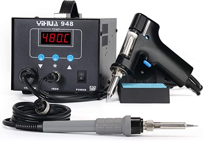 80W YIHUA 948 ESD Safe 2 in 1 Desoldering Station and 60W Soldering Iron AU Plug