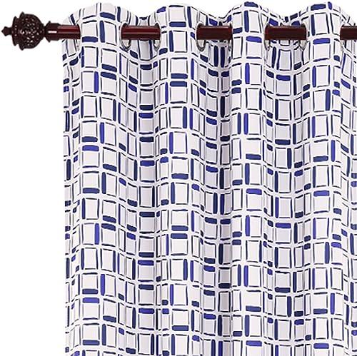 Deconovo Treatment Panels Grommet Window Drapes Printed Plaid Pattern Curtain