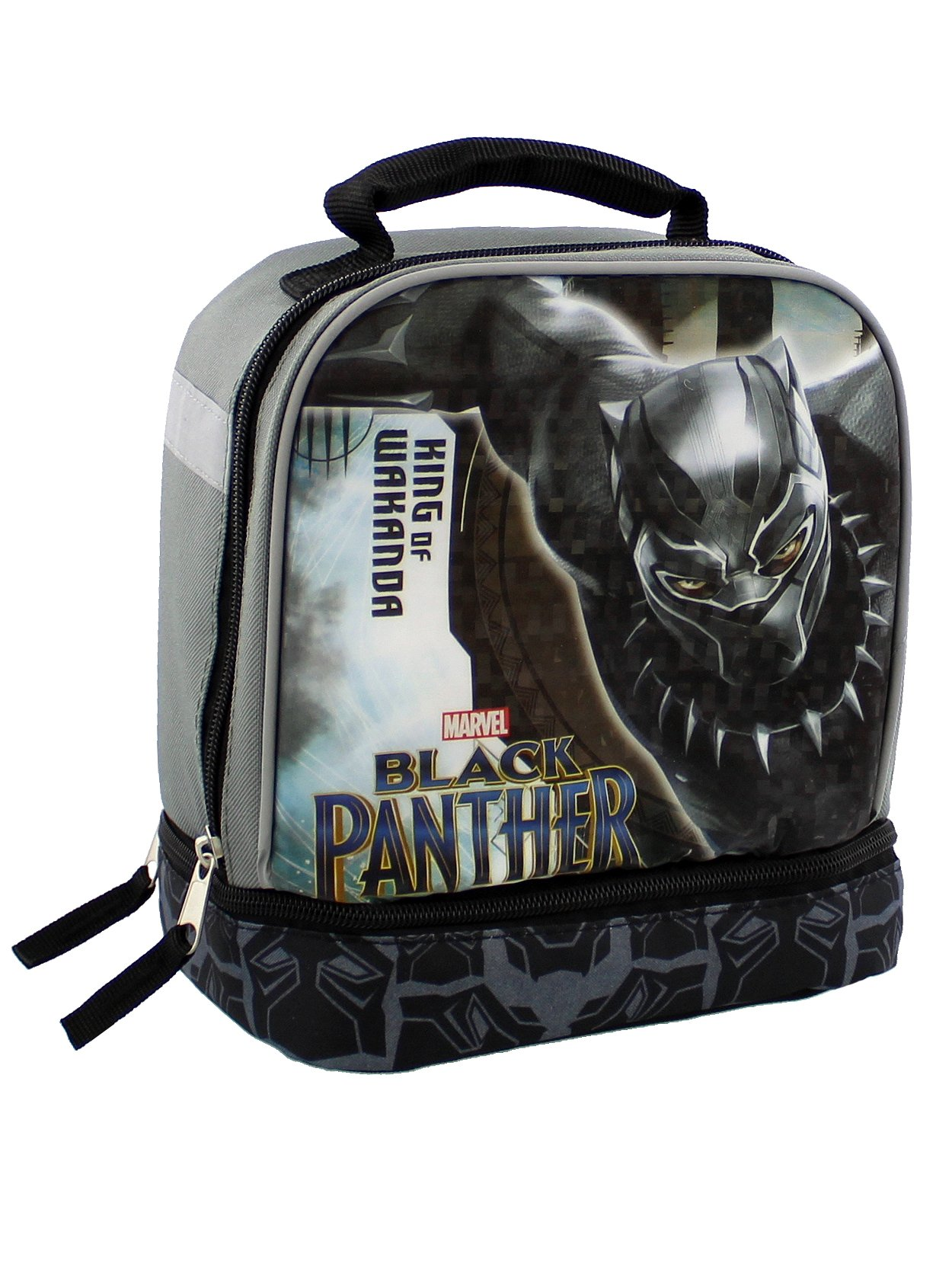 Black Panther Boy's Dual Compartment Soft Lunch Box (Black/Grey)