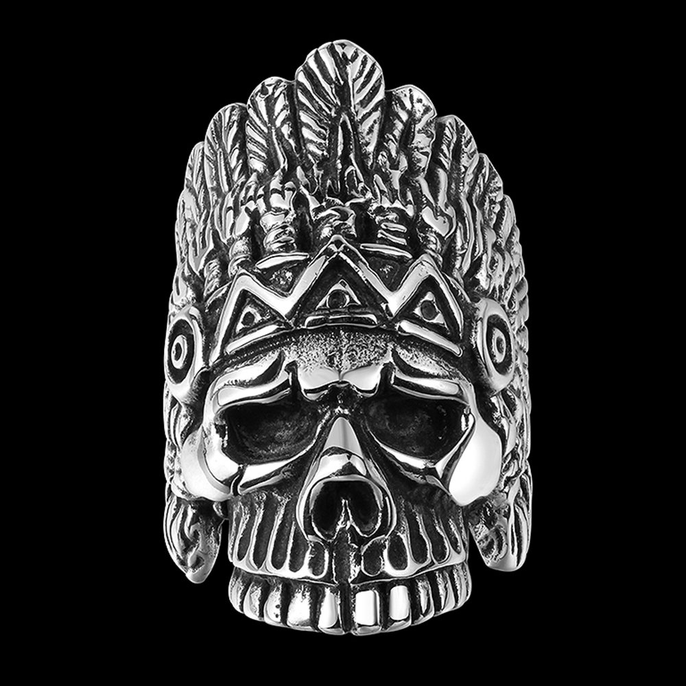 BLOOMCHARM Skull Rings for Men Boys Jewelry Punk Head Stainless Steel Bands Gifts Presents by BLOOMCHARM (Image #3)