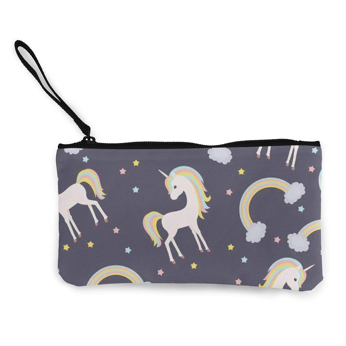 Rainbow Star Unicorn Women's Travel Makeup Bags Canvas Coin Purse Custom Personalized Small Clutch Pouch Phone Organizer Bag