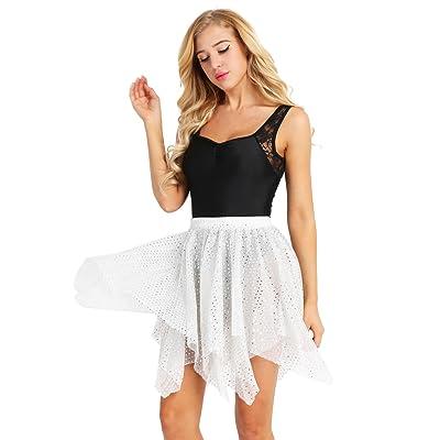 ranrann Women Glitter Sequin Asymmetric Polka Dots Ballet Skirts Latin Dance Wraps Over Scarf Tutu Dress Silver One Size at Women's Clothing store