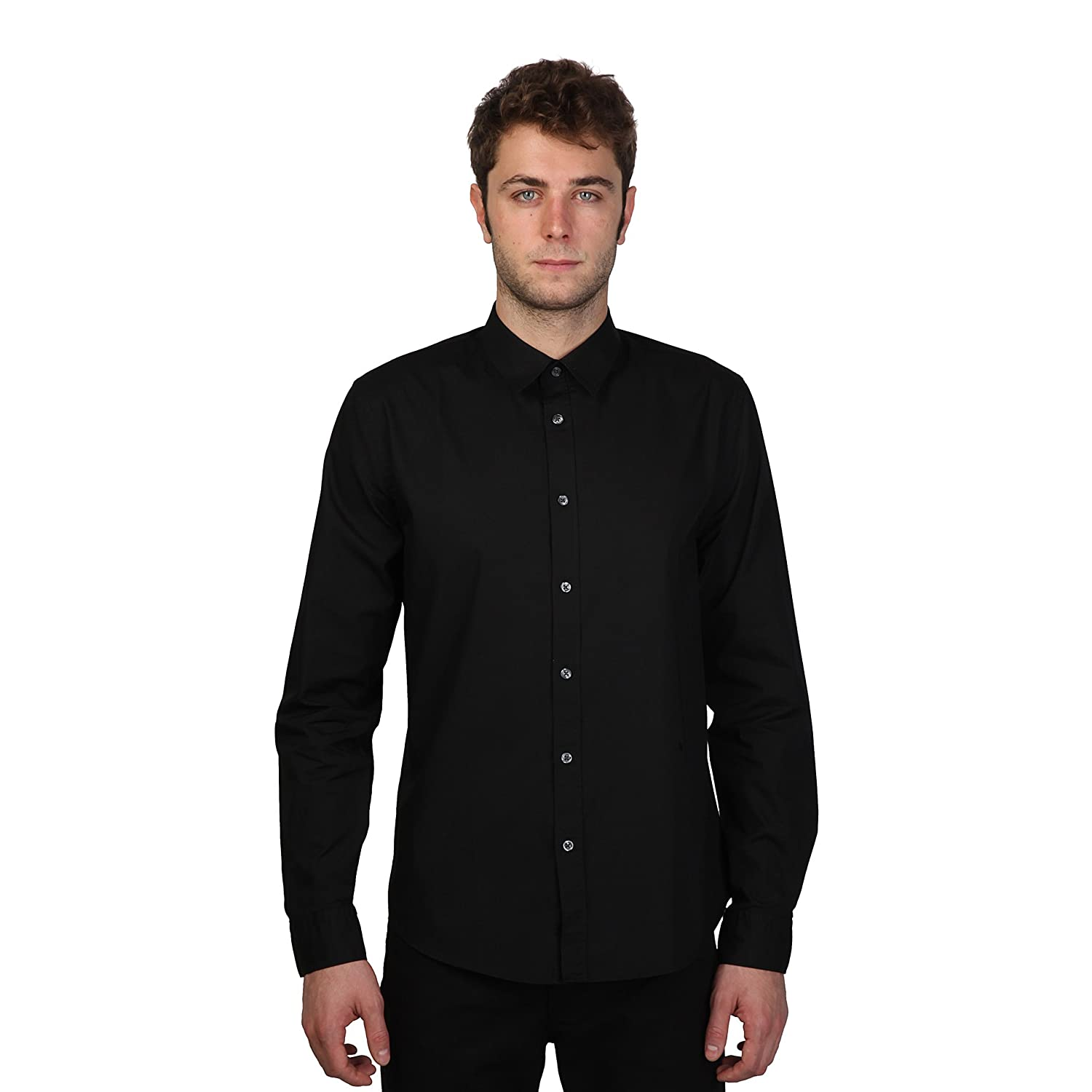 Cerruti 1881 Mens Formal Plain Long Sleeve Cotton Shirt With Small Logo