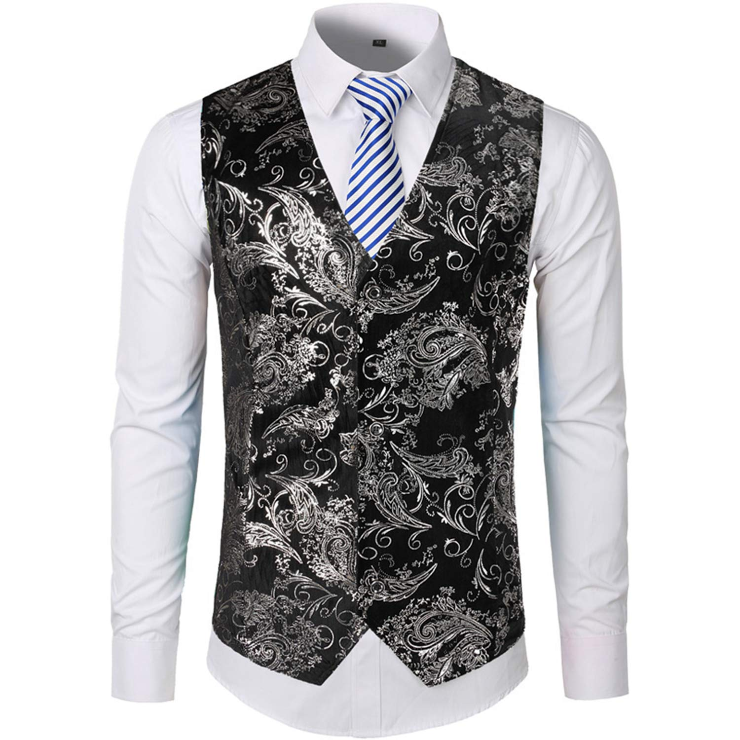 Carolyn Jones Mens Vest Print Flower Metallic Suit Waistcoat ...